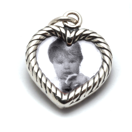 Charms & Solderable Accents Sterling Silver Heart Shaped Photo Frame Charm, Double Sided