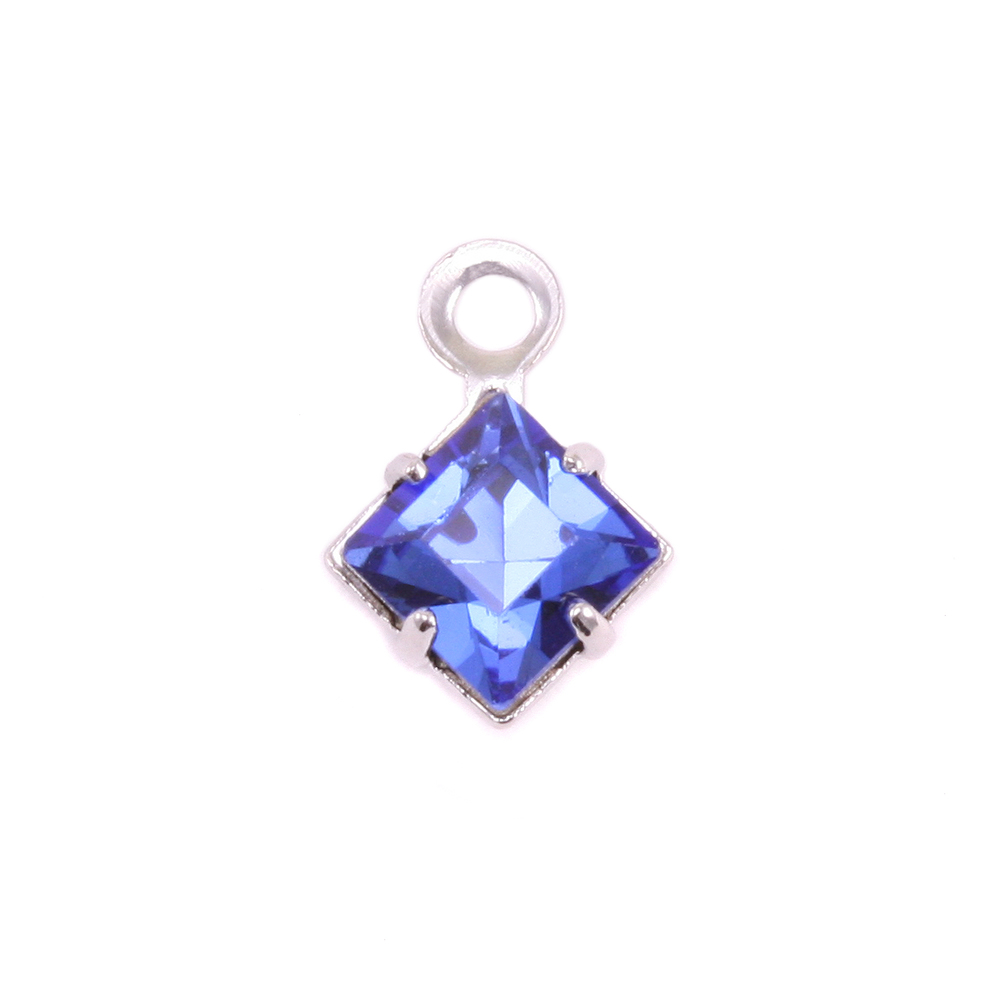 Charms & Solderable Accents Swarovski Xilion Square Crystal (Sapphire - SEPTEMBER), Pack of 4  *DISCONTINUED