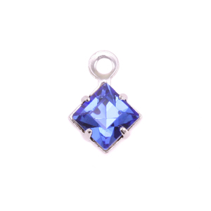 Charms & Solderable Accents Swarovski Xilion Square Fancy Crystal Charm (Sapphire - SEPTEMBER), Pack of 4
