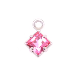 Charms & Solderable Accents Swarovski Xilion Square Crystal (Tourmaline - OCTOBER), Pack of 4 *DISCONTINUED