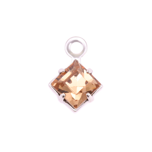 Charms & Solderable Accents Swarovski Xilion Square Crystal (Topaz - NOVEMBER), Pack of 4  *DISCONTINUED