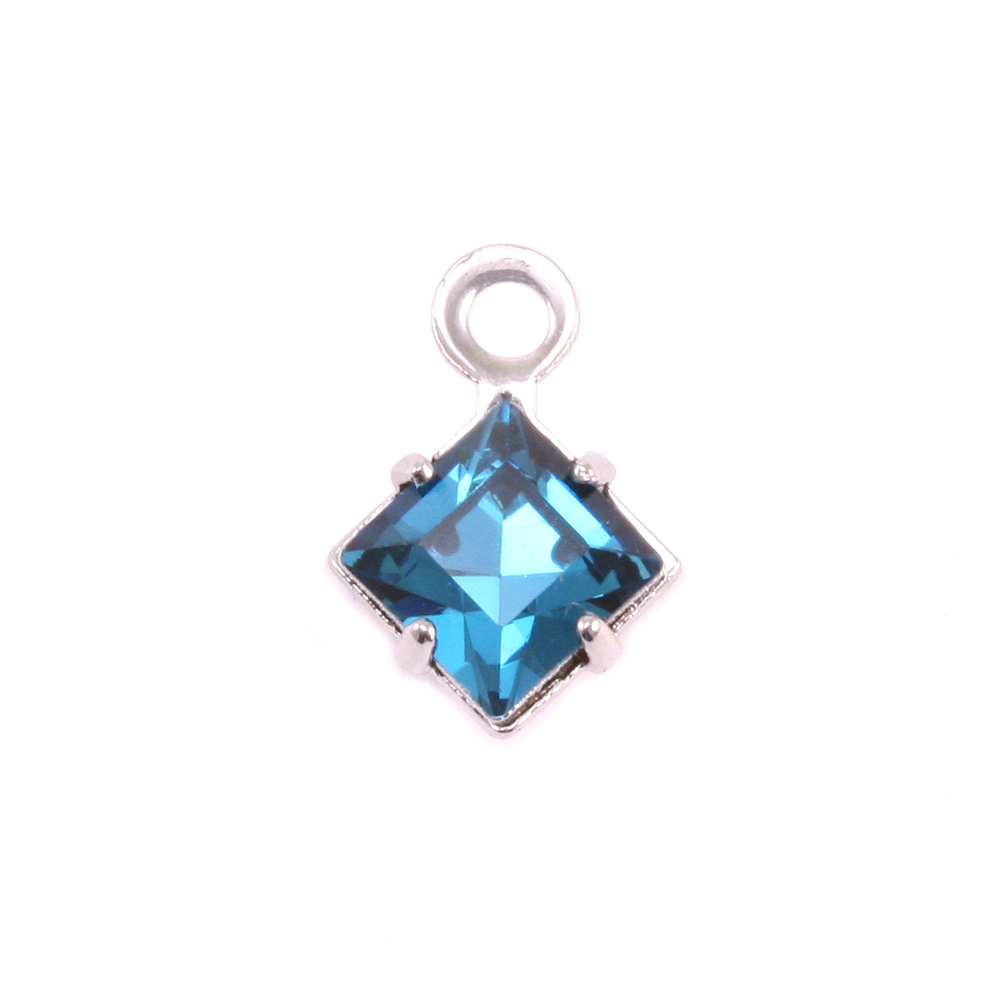 Charms & Solderable Accents Swarovski Xilion Square Crystal (Blue Zircon - DECEMBER), Pack of 4  *DISCONTINUED