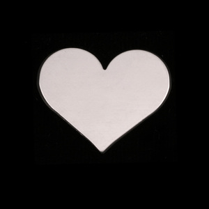 "Metal Stamping Blanks Sterling Silver Classic Heart, 20mm (.79"") x 17mm (.67""), 20g"