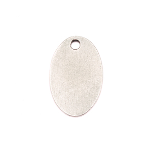 "Metal Stamping Blanks Silver Plated Pewter Oval with Hole, 25mm (.98"") x 16.5mm (.65""), 15g"
