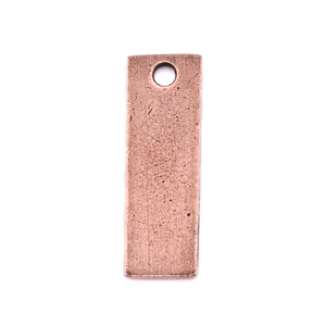"Metal Stamping Blanks Antiqued Copper Plated Pewter Rectangle with Hole, 29.3mm (1.15"") x 9.8mm (.39""), 14g+"