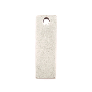 "Metal Stamping Blanks Silver Plated Pewter Rectangle with Hole, 29.3mm (1.15"") x 9.8mm (.39""), 14g+"