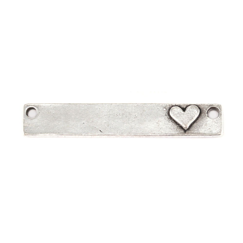 "Metal Stamping Blanks Pewter Rectangle with Raised Heart, 38.1mm (1.5"") x 6.4mm (.25""), 16g"