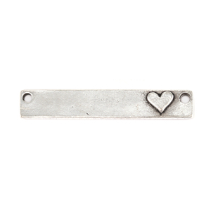 "Metal Stamping Blanks Pewter Rectangle with Raised Heart and Holes, 38.1mm (1.5"") x 6.4mm (.25""), 16g"