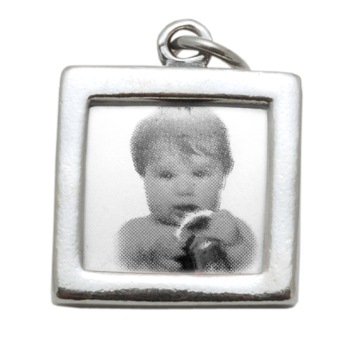 Charms & Solderable Accents Sterling Silver Square Photo Frame Charm, Double Sided