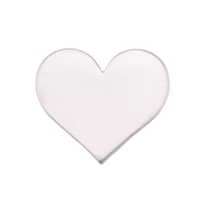 "Metal Stamping Blanks Aluminum Classic Heart, 20mm (.79"") x 17mm (.67""), 18g, Pk of 5"