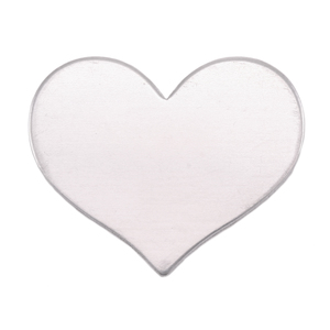 "Metal Stamping Blanks Aluminum Classic Heart, 26.5mm (1.04"") x 21.5mm (.84""), 18g, Pk of 5"