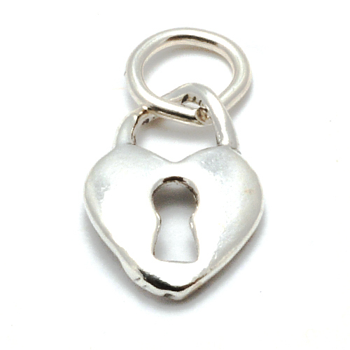 Charms & Solderable Accents Sterling Silver Heart with Keyhole Charm