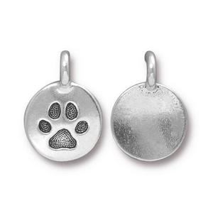 Charms & Solderable Accents Silver Plated Dog Paw Charm