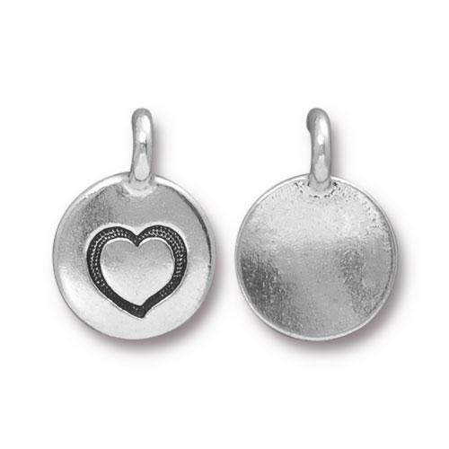 Charms & Solderable Accents Silver Plated Heart Charm