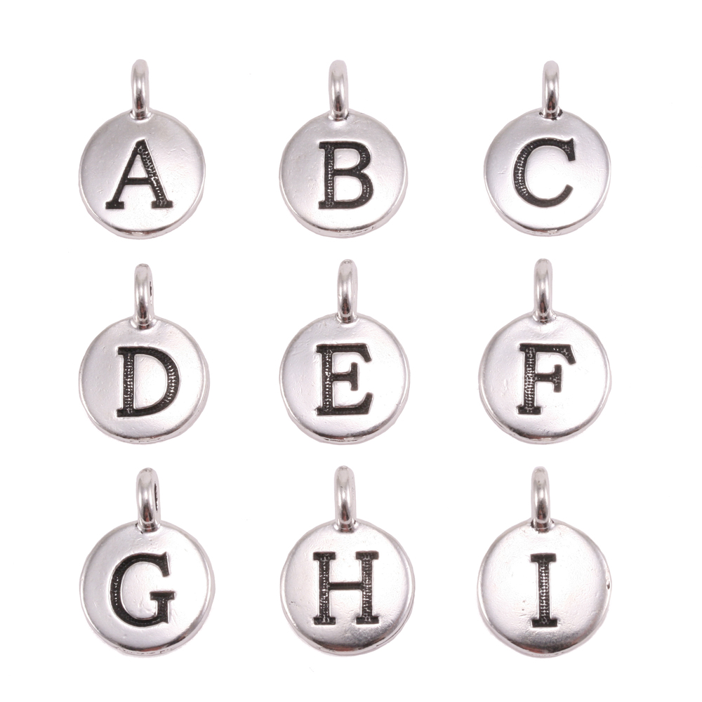 Charms & Solderable Accents Silver Plated Letter E Charm