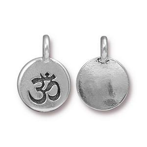 Charms & Solderable Accents Silver Plated Om Charm