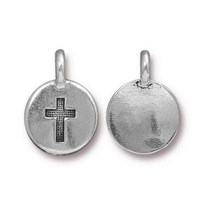 Charms & Solderable Accents Silver Plated Cross Charm