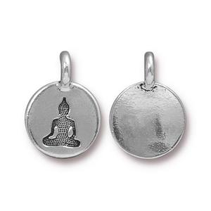Charms & Solderable Accents Silver Plated Buddha Charm