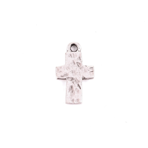 Charms & Solderable Accents Silver Plated Pewter Small Rustic Cross Charm
