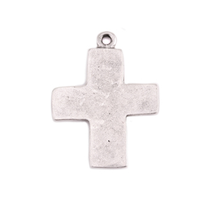 Charms & Solderable Accents Silver Plated Pewter Large Rustic Cross Charm