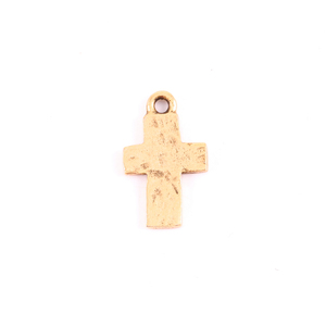 Charms & Solderable Accents Gold Plated Pewter Small Rustic Cross Charm