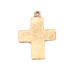Charms & Solderable Accents Gold Plated Pewter Large Rustic Cross Charm