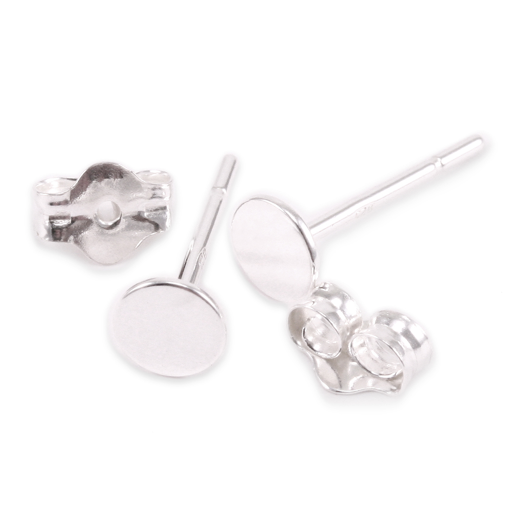 Rivets and Findings  Sterling Silver Flat Pads with Posts and Pair of Backs, 4mm