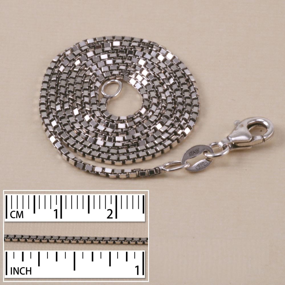 Sterling Silver Small Oxidized Box Chain, 18""