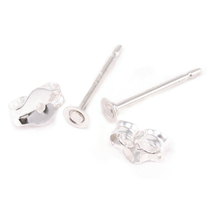 Rivets,  Findings & Stringing Sterling Silver Flat Pad with Posts and Pair of Backs, 2.5 mm