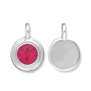 Charms & Solderable Accents Silver Plated Crystal Garnet Charm-January (Siam)