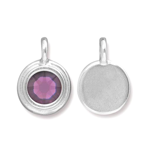 Charms & Solderable Accents Silver Plated Crystal Amethyst Charm-February (Amethyst)