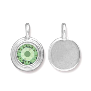 Charms & Solderable Accents Silver Plated Crystal Peridot Charm-August (Peridot)