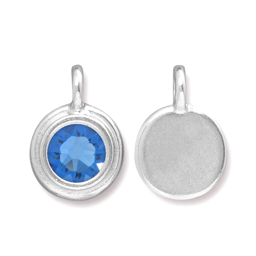 Charms & Solderable Accents Silver Plated Crystal Sapphire Charm-September (Sapphire)