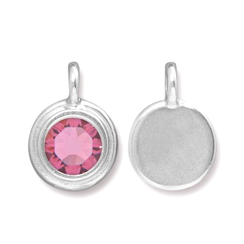 Charms & Solderable Accents Silver Plated Crystal Pink Tourmaline Charm-October (Rose)