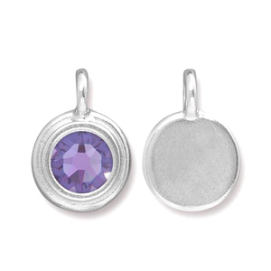 Charms & Solderable Accents Silver Plated Crystal Tanzanite Charm-December (Tanzanite)