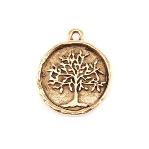Charms & Solderable Accents Gold Plated Pewter Tree of Life Charm