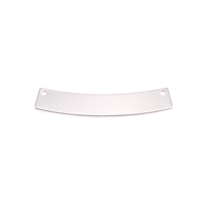 "Metal Stamping Blanks  Sterling Silver Curved Rectangle Bar with Holes, 30mm (1.18"") x 5mm (.20""), 24g"