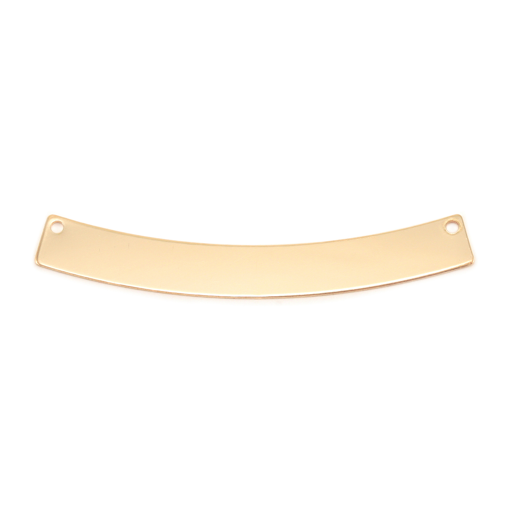 "Metal Stamping Blanks Gold Filled Curved Rectangle Bar with Holes, 40mm (1.57"") x 5mm (.20""), 24g"