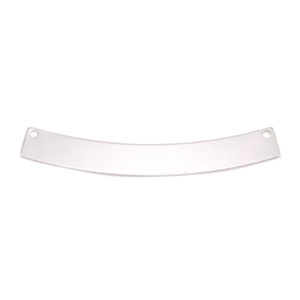 "Metal Stamping Blanks Silver Filled Curved Rectangle Bar with Holes, 40mm (1.57"") x 5mm (.20""), 24g"