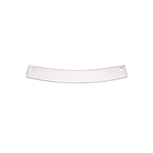 """Metal Stamping Blanks Sterling Silver Curved Rectangle Bar with Holes, 30mm (1.18"""") x 4mm (.16""""), 24g"""