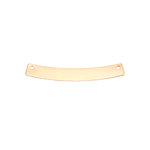 "Metal Stamping Blanks Gold Filled Curved Rectangle Bar with Holes, 30mm (1.18"") x 4mm (.16""), 24g"