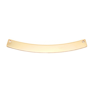 "Metal Stamping Blanks Gold Filled Curved Rectangle Bar with Holes, 40mm (1.57"") x 4mm (.16""), 24g"