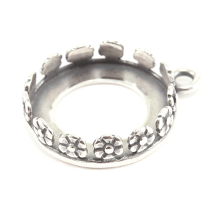 Metal Stamping Blanks Sterling Silver Flower Bezel for 14mm Rivoli