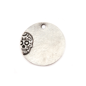 "Metal Stamping Blanks Pewter Circle with Sugar Skull, 19mm (.75""), 16g"