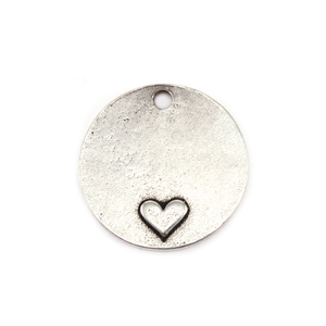 "Metal Stamping Blanks Pewter Circle with Heart at the Bottom, 19mm (.75""), 16g"