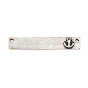"Metal Stamping Blanks Pewter 1.5"" Rectangle Bar with Anchor and two Holes, 16g"
