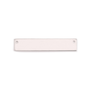 "Metal Stamping Blanks Sterling Silver Rectangle Bar with Holes, 38mm (1.25"") x 6.4mm (.25""), 24g"