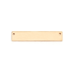 "Metal Stamping Blanks Gold Filled Rectangle Bar with Holes, 31.8mm (1.25"") x 6.4mm (.25""), 24g"
