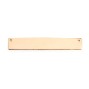 "Metal Stamping Blanks Gold Filled Rectangle Bar with Holes, 38mm (1.50"") x 6.4mm (.25""), 24g"