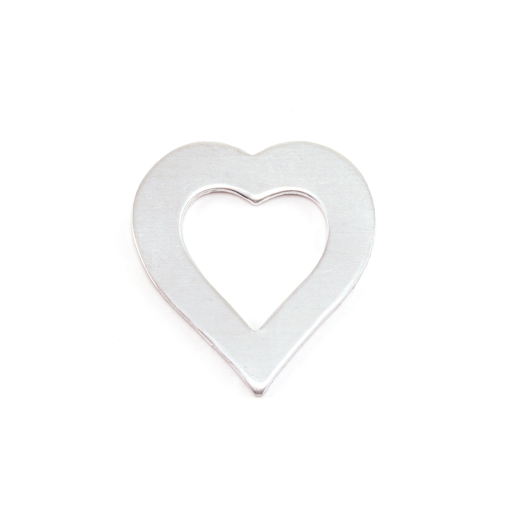 "Metal Stamping Blanks Aluminum Heart Washer, 21mm (.83"") x 19mm (.75""), 18g, Pack of 5"